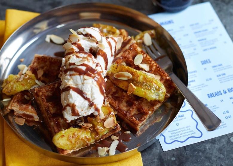 dosa waffles with banana - SpiceBox