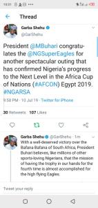 AFCON: Buhari Congratulates Super Eagles For Defeating South Africa 2-1 6