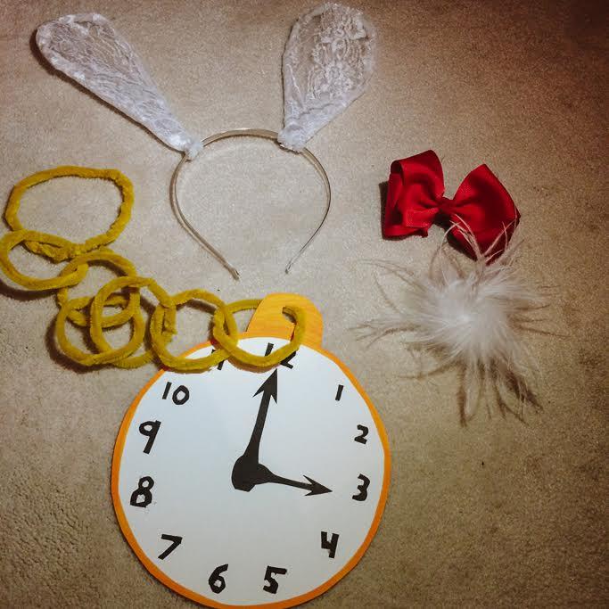 White Rabbit homemade costume pieces