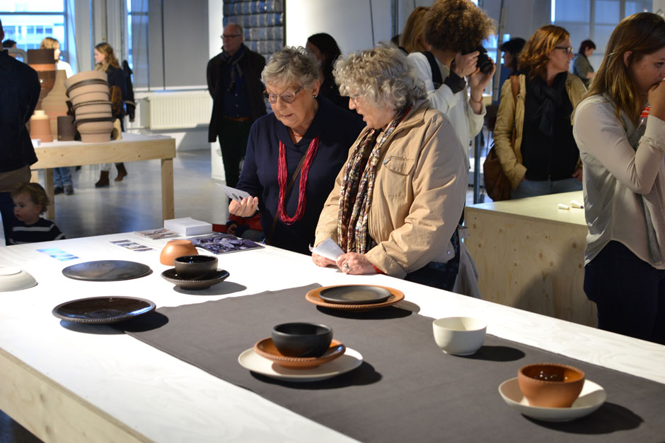 Some lovely ladies disusing details about the ceramic network during Graduation Show 2014