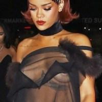 Rihanna suffers nip-slip as she goes braless in sheer top (Photos)