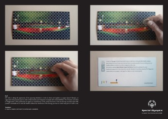 "JWT for Special Olympics, campagna direct di raccolta fondi, ""Barriere"". Headline: ""It takes a simple gesture to overcome a barrier"". CW Beatrice Furlotti, AD Hugo Gallardo. Pubblicato in JWT Q2 Showcase 2006."