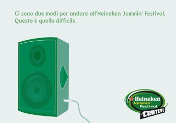 "Heineken Jammin' Festival Contest, campagna promocard, ""Palco"", soggetto ""Cassa"". Headline ""You have two ways to go to the Heineken Jammin' Festival. This is the hardest one"". CW Beatrice Furlotti, AD Hugo Gallardo."