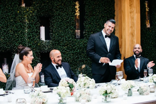 A speech being made during a wedding held at Ristorante Beatrice.
