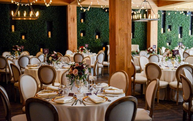 The main dining room decorated for a wedding held at Ristorante Beatrice.