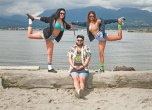 Glory Days crew Jason Sulyma a.k.a. MGH!, rapper Genesis Mohanraj & Emma Lee Skillman sport vintage swimsuits. Jason is wearing Native 'Verona' shoes from Timebomb, LRG Hawaiian woven shirt from Livestock, denim hat from F as in Frank, and fake Gucci tank. Catch them at the Biltmore Cabaret every Saturday night.