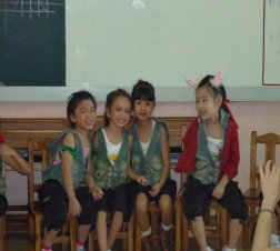 Another group of cute girls with their dance outfits for Christmas show