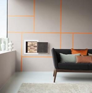 mur-peinture-Gris-releve-par-jeu-graphique-peinture-orange