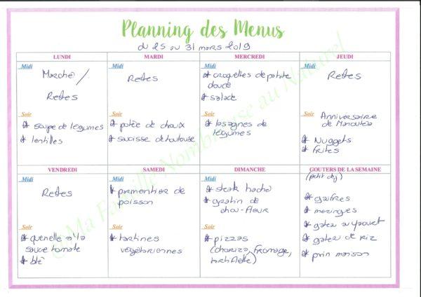 planifier ses menus / planning des menus