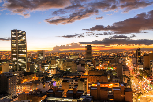 View of downtown Bogota, Colombia at dusk
