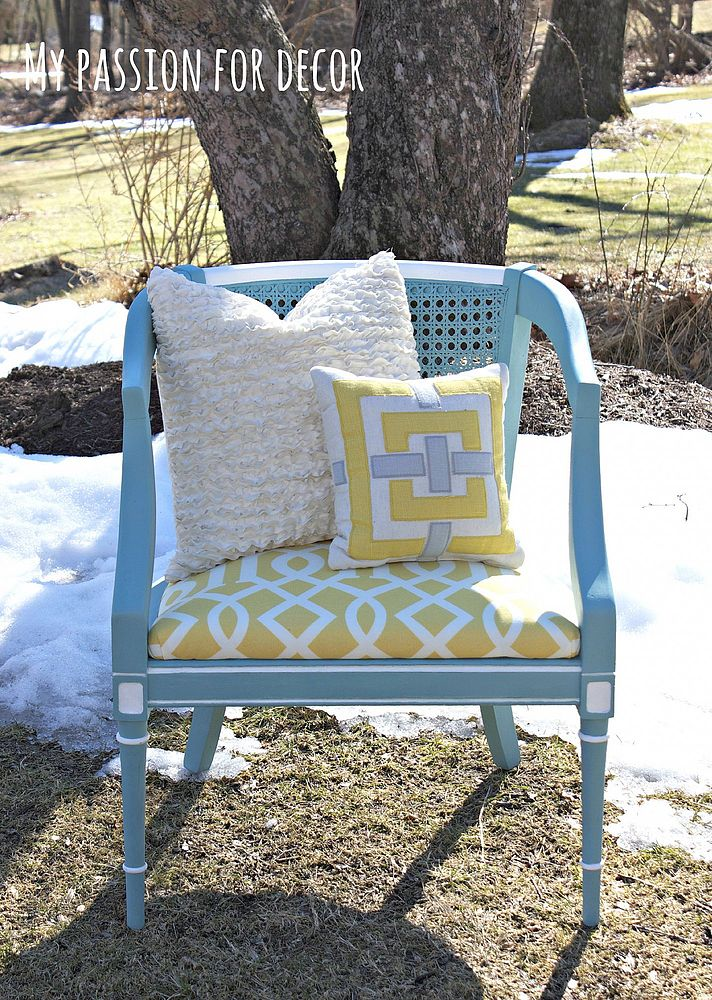 Turquoise Cane Chair