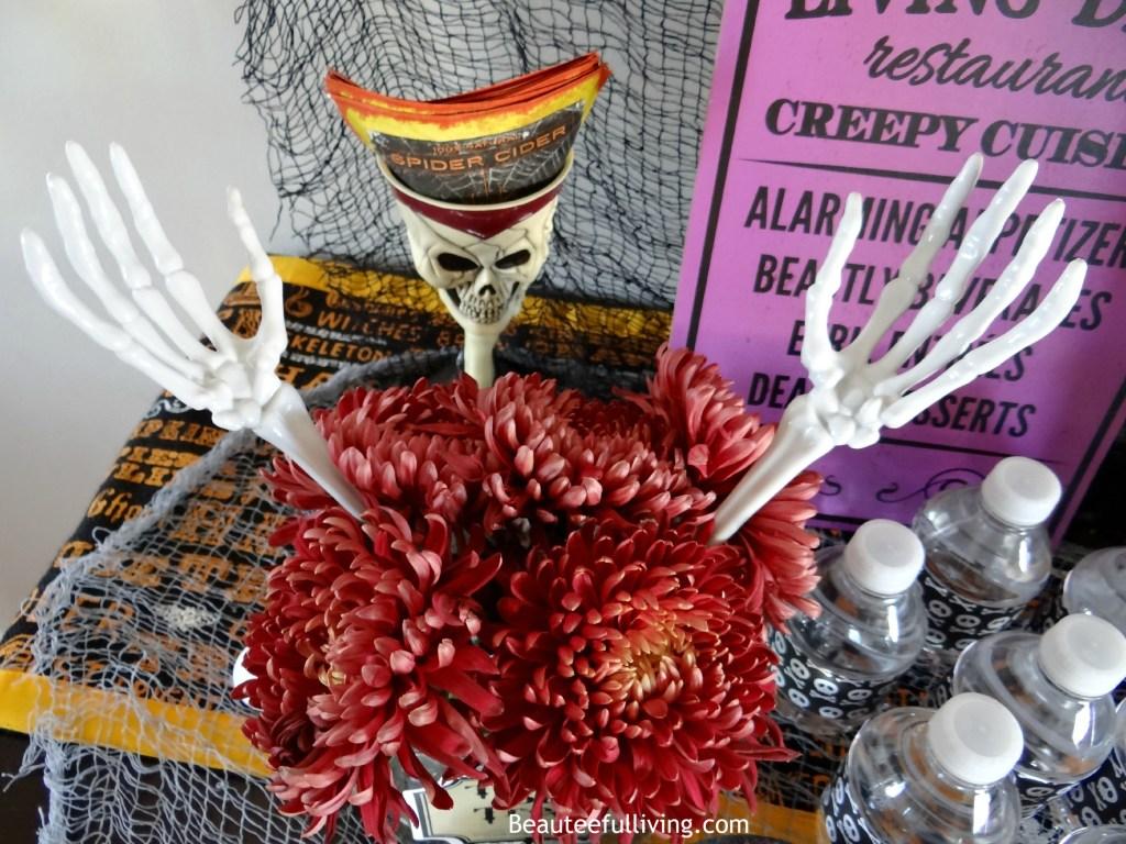 Creepy mum floral centerpiece