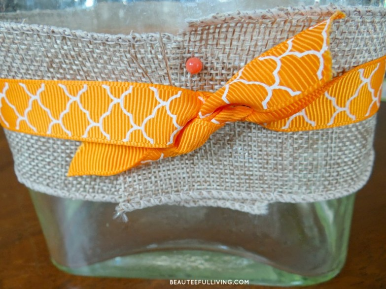 Securing burlap and ribbon