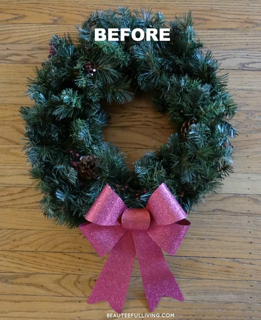 Front door wreath before