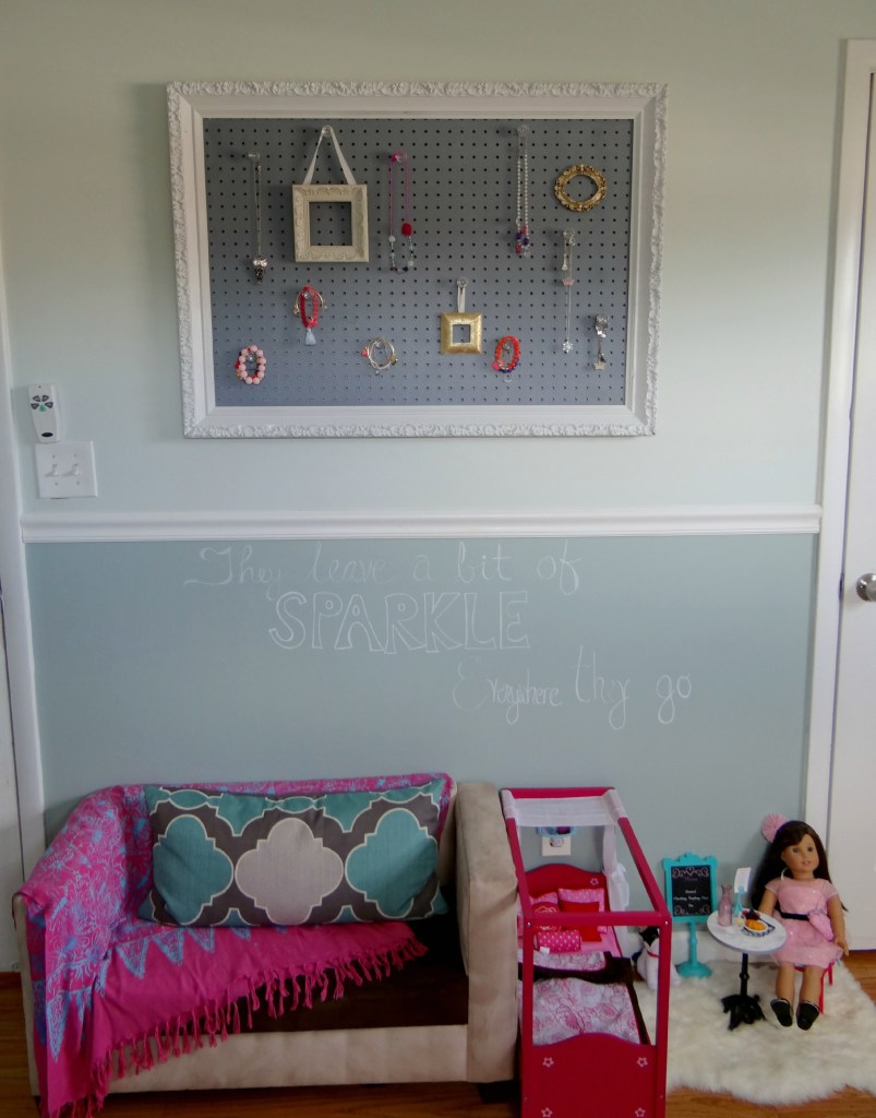 Jewelry Pegboard loveseat area - Beauteeful Living