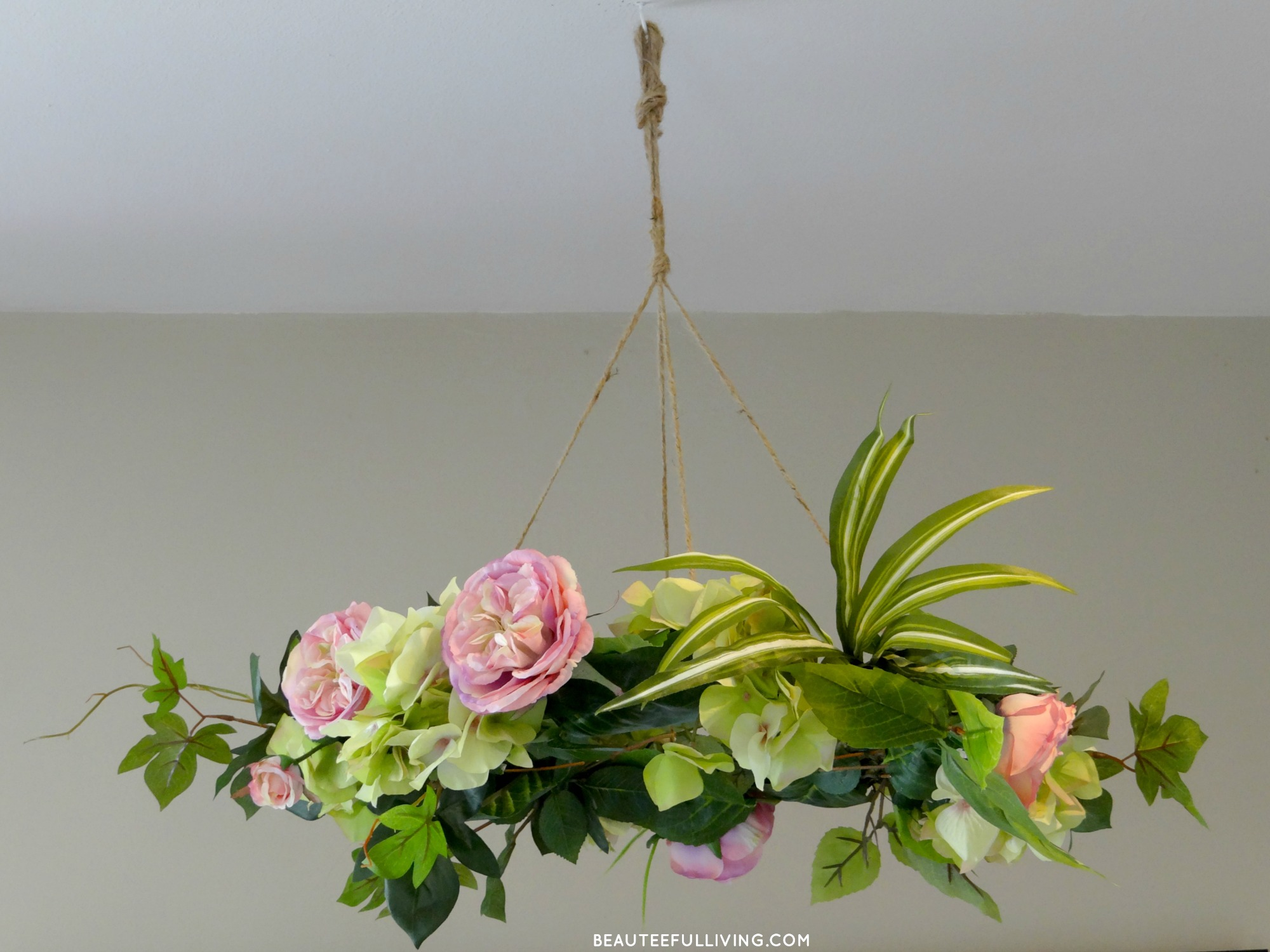Hanging floral chandelier diy beauteeful living silk floral chandelier beauteeful living aloadofball Image collections