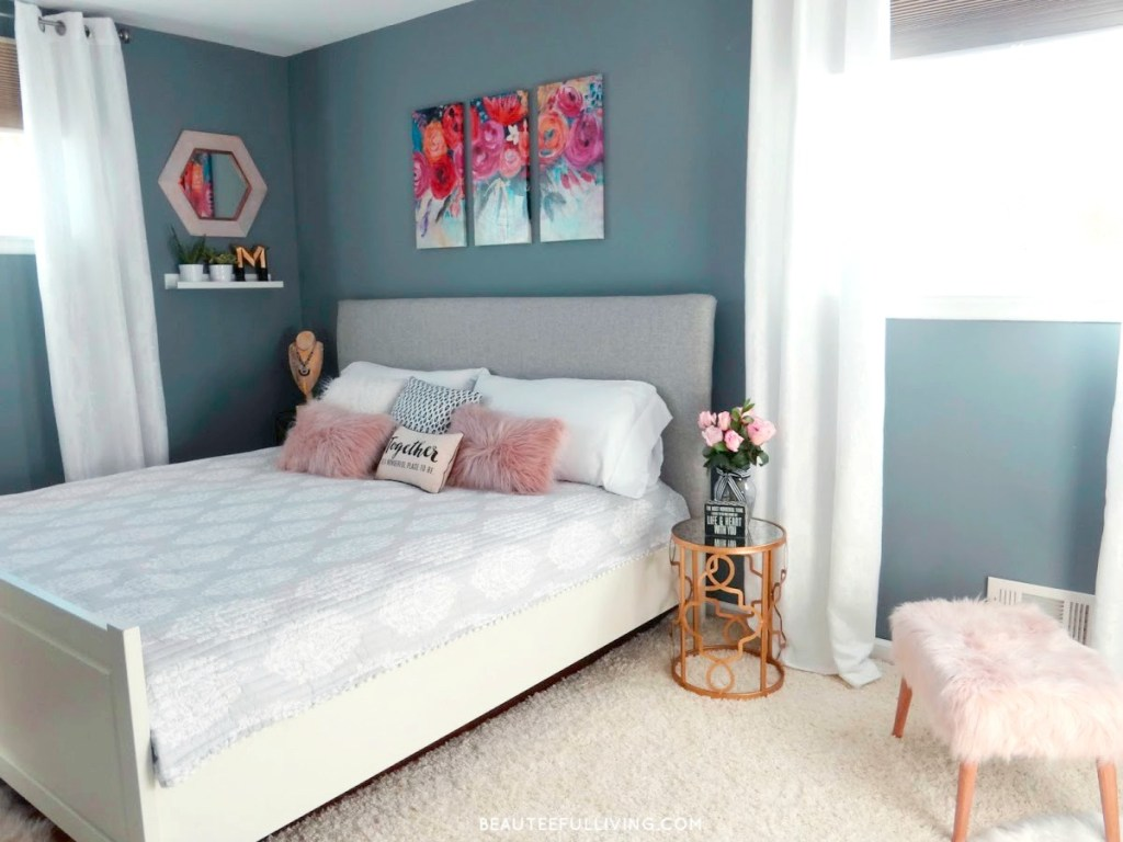 Modern Glam Bedroom Makeover - Beauteeful Living