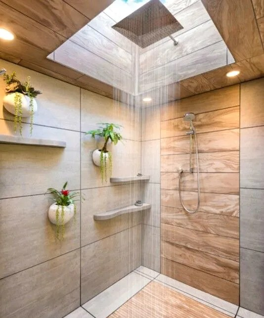 Hanging plants in shower