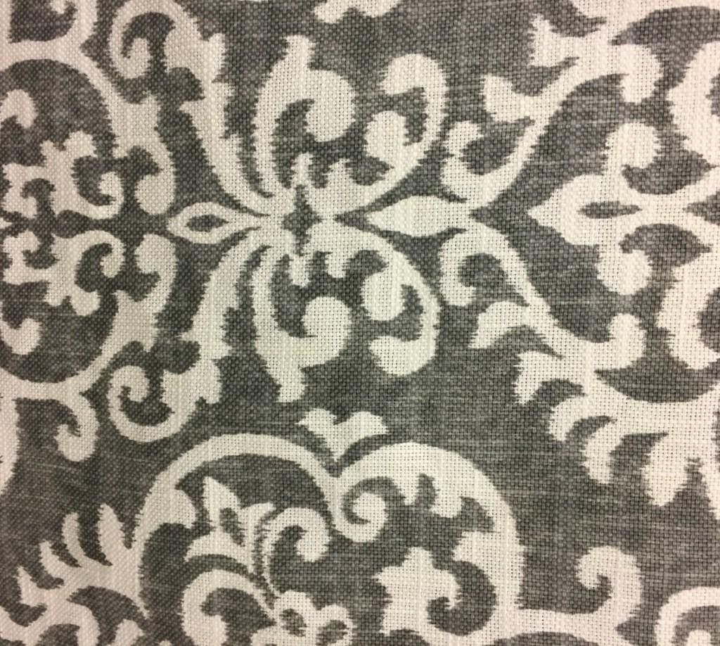 Gray and white damask fabric