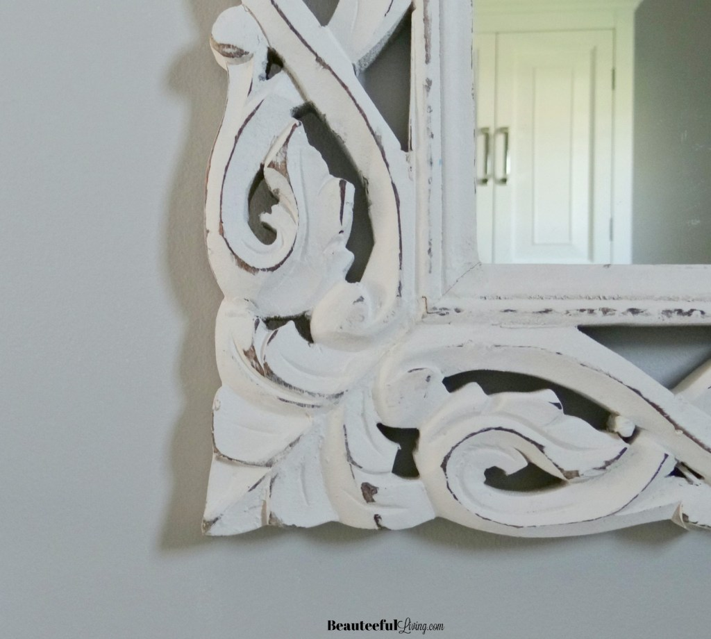 Floral white washed mirror