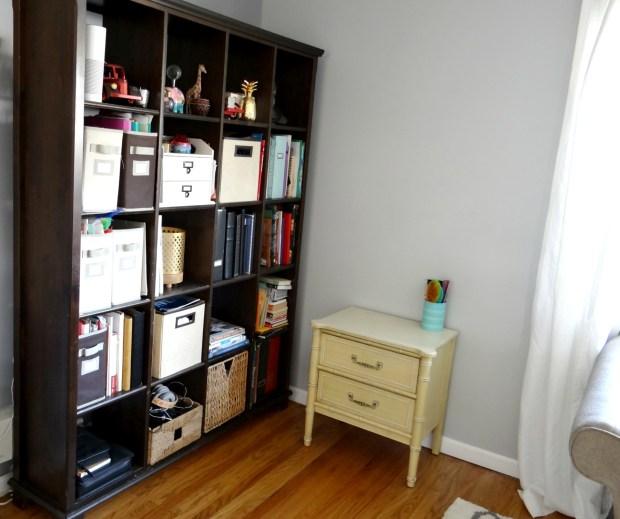 Bookcase corner before