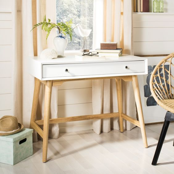 Safavieh Isadora-Mid-Century-White-Modern-Desk