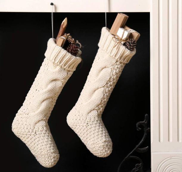White Knit Christmas Stockings