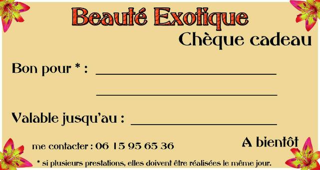 Cheque Cadeau Beauteexotique