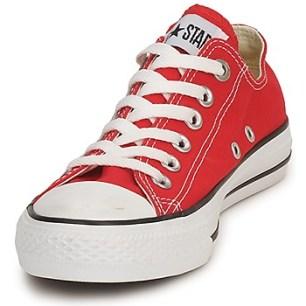baskettes rouges textile spartoo