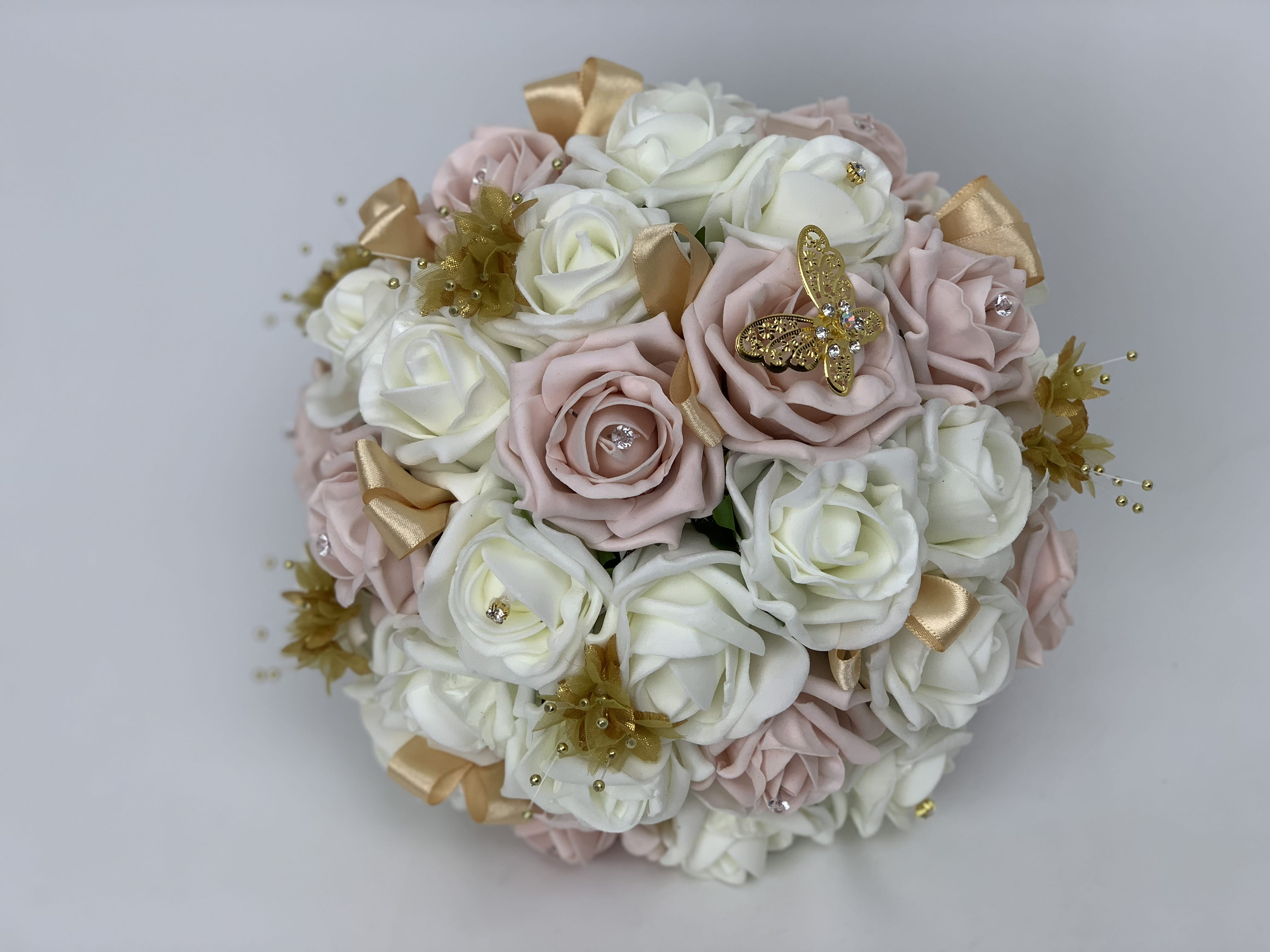 Artificial Bridal Round Posy Bouquet Butterfly Gold