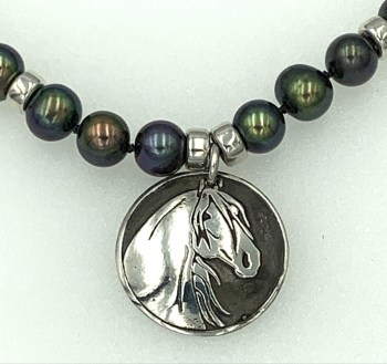Peacock pearls with Monarch pendant necklace.