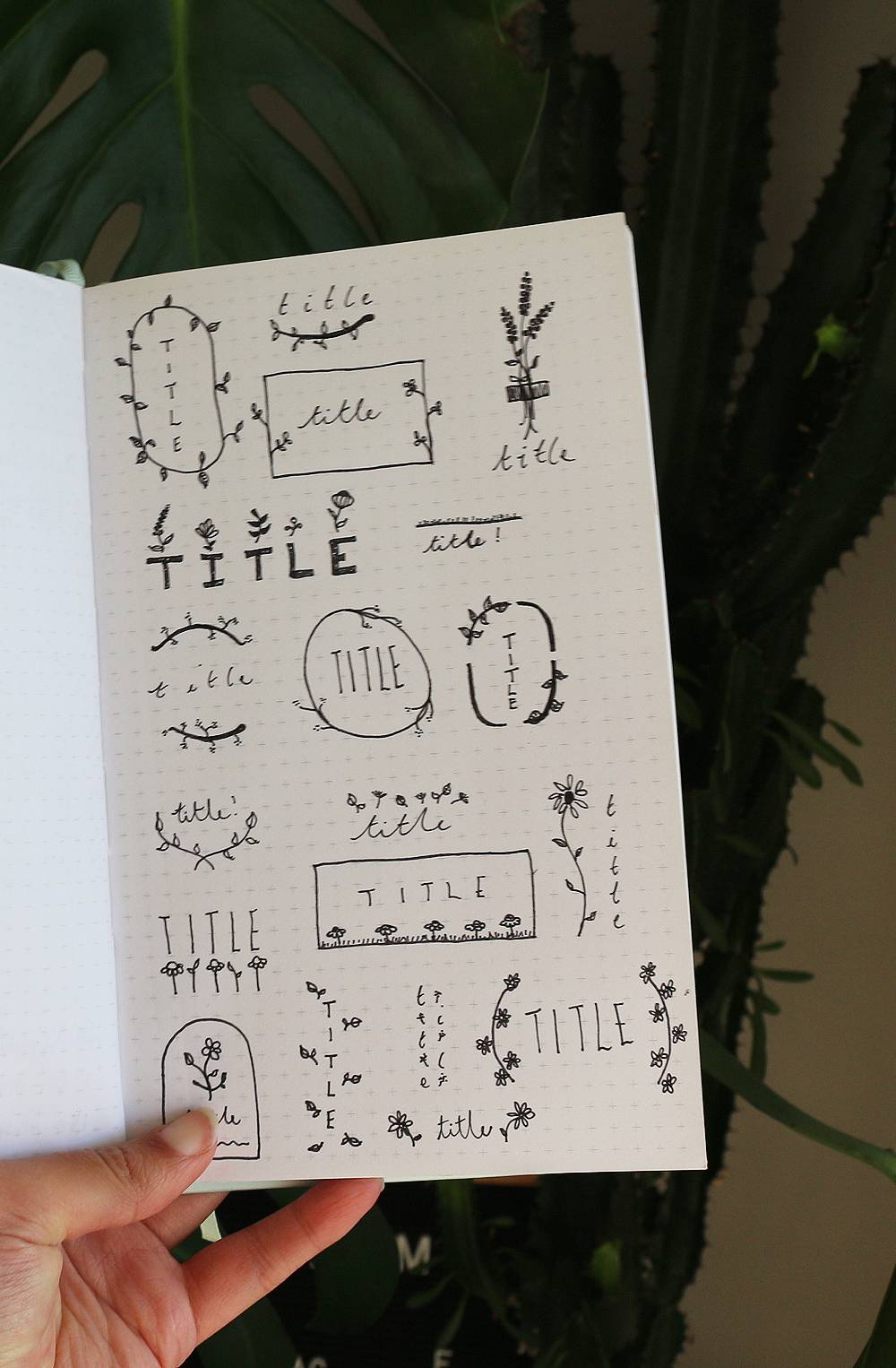 Floral bullet journal title ideas that are easy to recreate, but cute