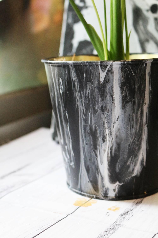 Monochrome Acrylic Paint Pour Plant Pot