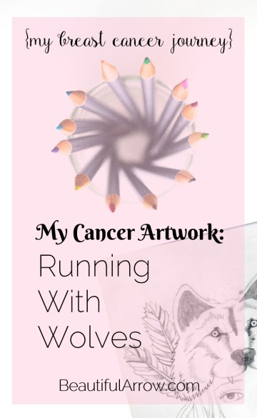 My Cancer Artwork - a pencil drawing I drew in the days before my mastectomy surgery during breast cancer treatment. I named it 'Running With Wolves'.