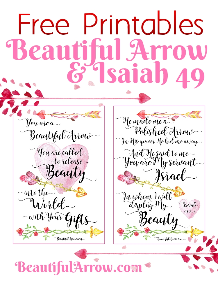 Free Printable Beautiful Arrow & Isaiah 49 Index Cards