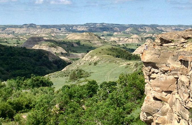 Hike around to the north of the Ice Caves to get a spectacular view of the North Dakota Badlands.