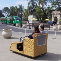 Balboa Park's wicker cart Electriquettes ready to go!