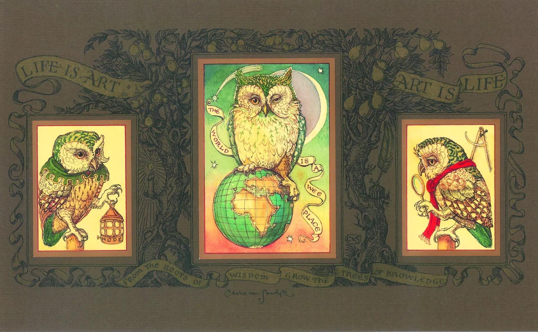 1997 Life is Art owl triptych