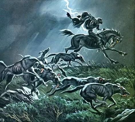Angus McBride Beasts Wild hunt illus