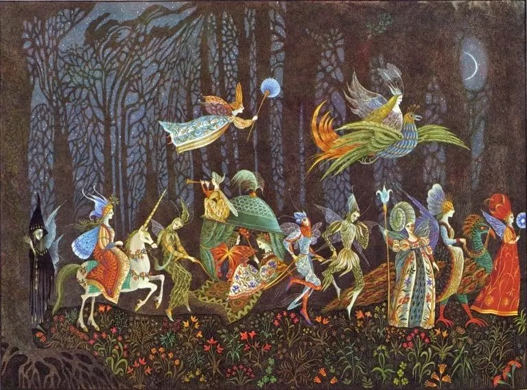 Errol Le Cain Thorn Rose illus Fairy Procession