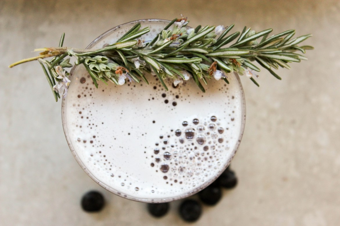 , Rosemary Blueberry Gin Sour