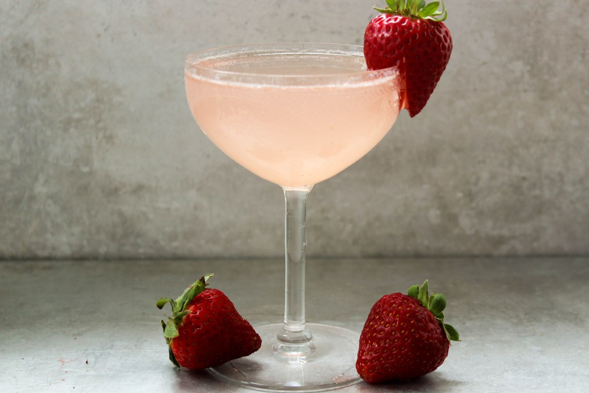 , Strawberry and Rhubarb French 75
