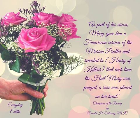 Bouquet of pink roses being held, with a quote written by Fr. Donald H. Calloway, MIC from his book Champion of the Rosaries. The quote reads,