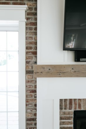 Living Room Brick and Mantle