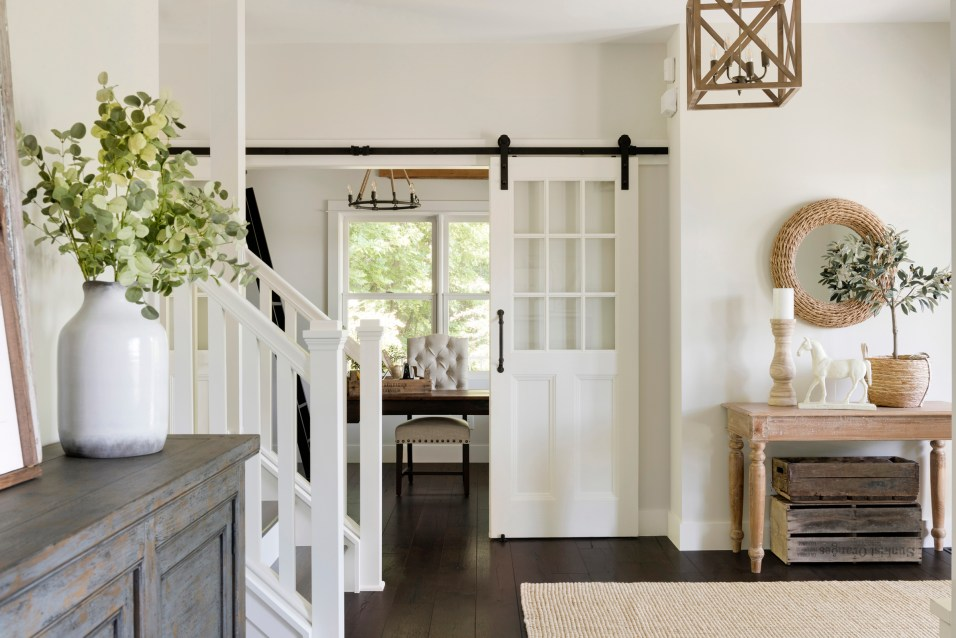 modern french country chandelier and repurposed doors