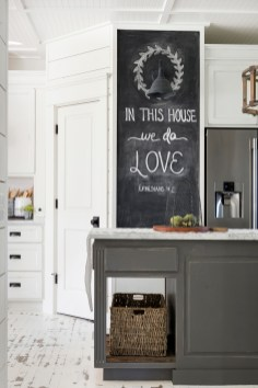 white farmhouse kitchen chalkboard
