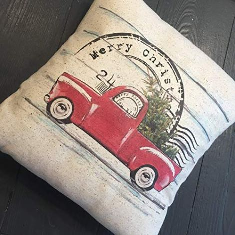 rustic pillow for christmas decorating