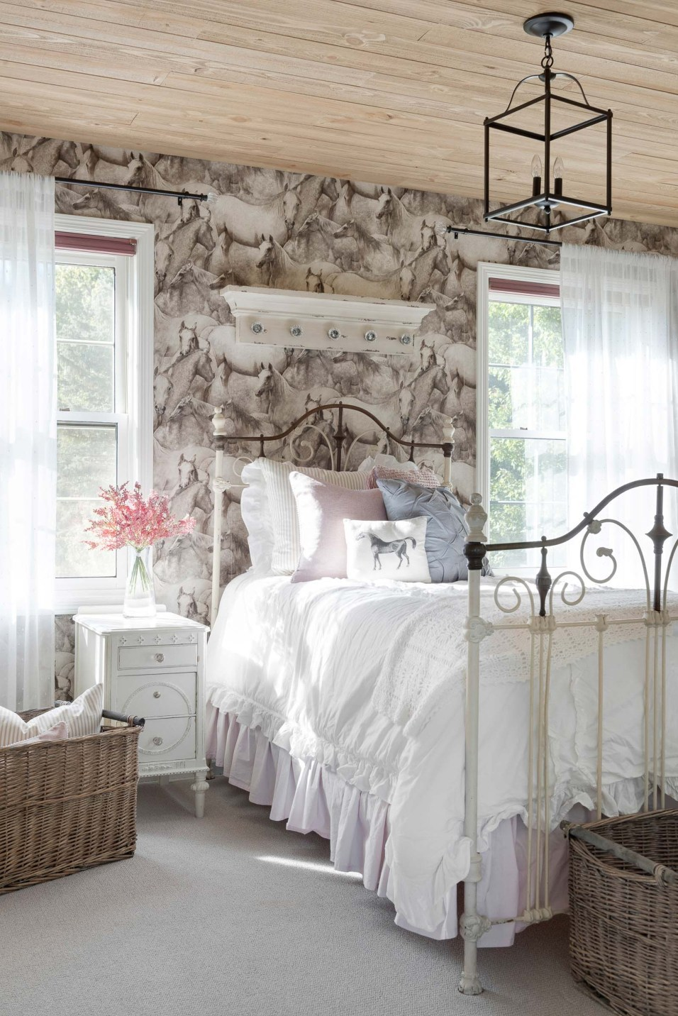 Farmhouse Girls Bedroom with Horse Wallpaper