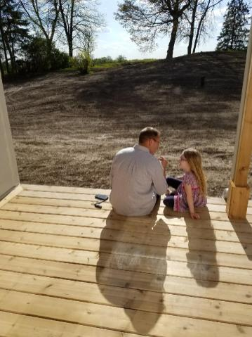 Jayme and our daughter at a job site; photo from Divinely Designed!