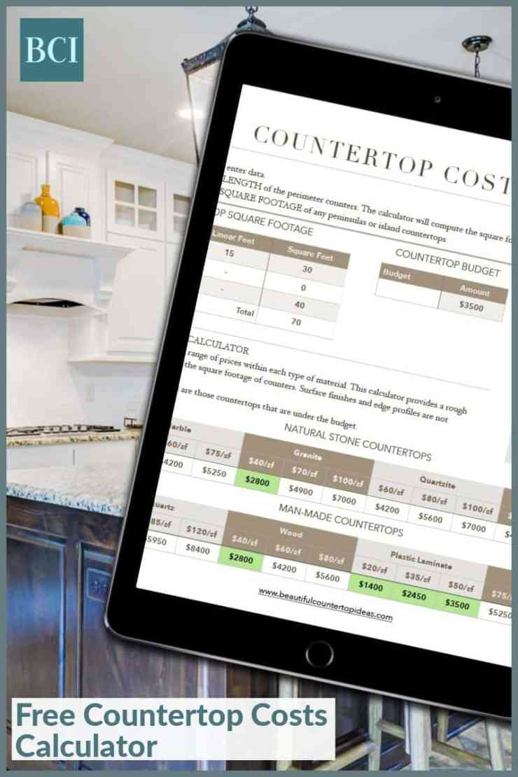 Photo collage of white kitchen and Countertop Costs Calculator spreadsheet on an iPad.